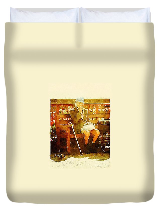 Watercolour Duvet Cover featuring the painting The Devonshire Man by Vix Edwards