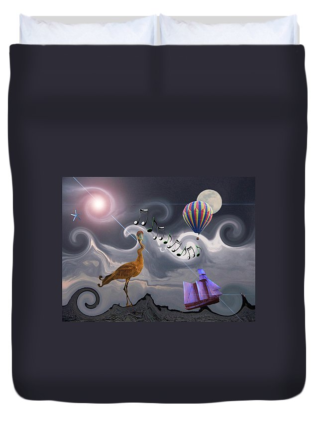 Birds Duvet Cover featuring the photograph The Dream Voyage - Mad World Series by Amanda Vouglas