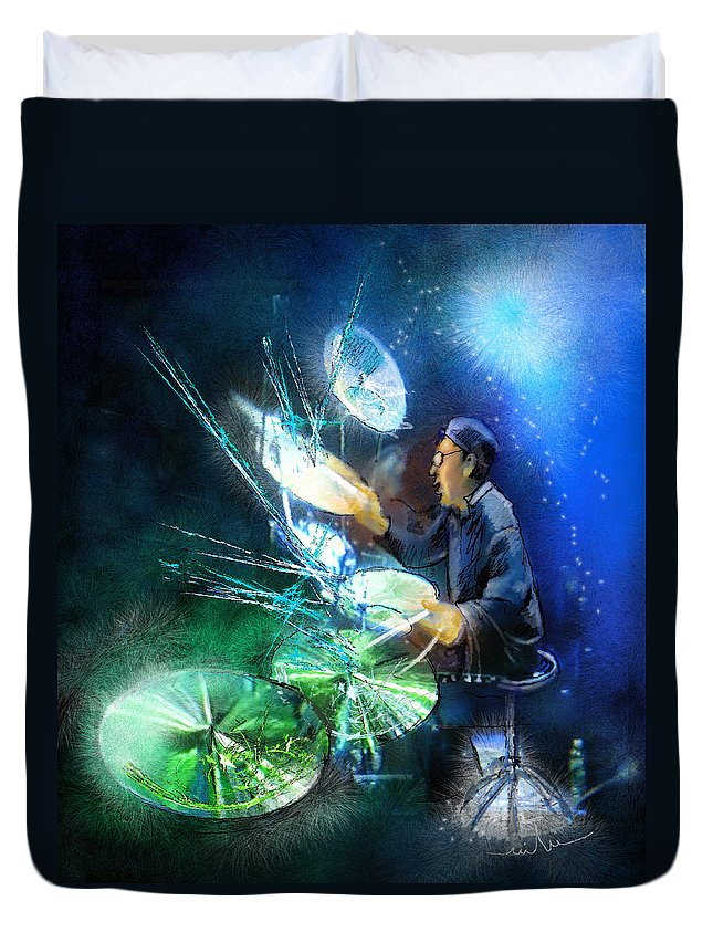 Drummer Duvet Cover featuring the painting The Drummer 01 by Miki De Goodaboom