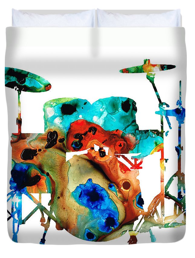 Drum Duvet Cover featuring the painting The Drums - Music Art By Sharon Cummings by Sharon Cummings