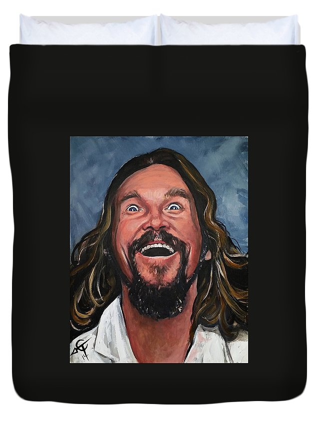 The Dude Duvet Cover featuring the painting The Dude by Tom Carlton