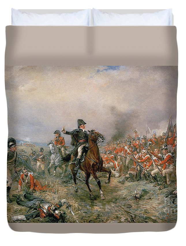The Duvet Cover featuring the painting The Duke Of Wellington At Waterloo by Robert Alexander Hillingford