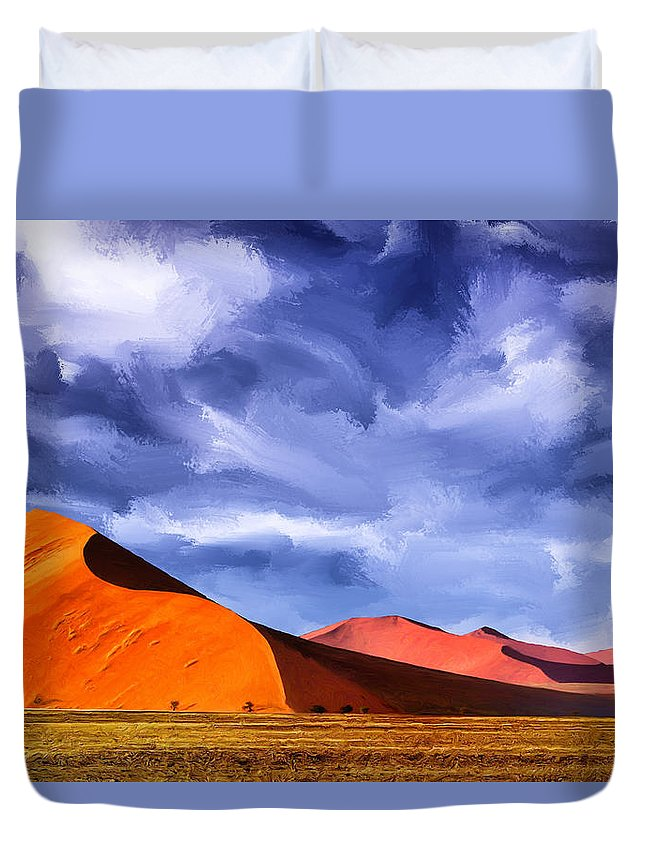 Dunes Duvet Cover featuring the painting The Dunes by Dominic Piperata