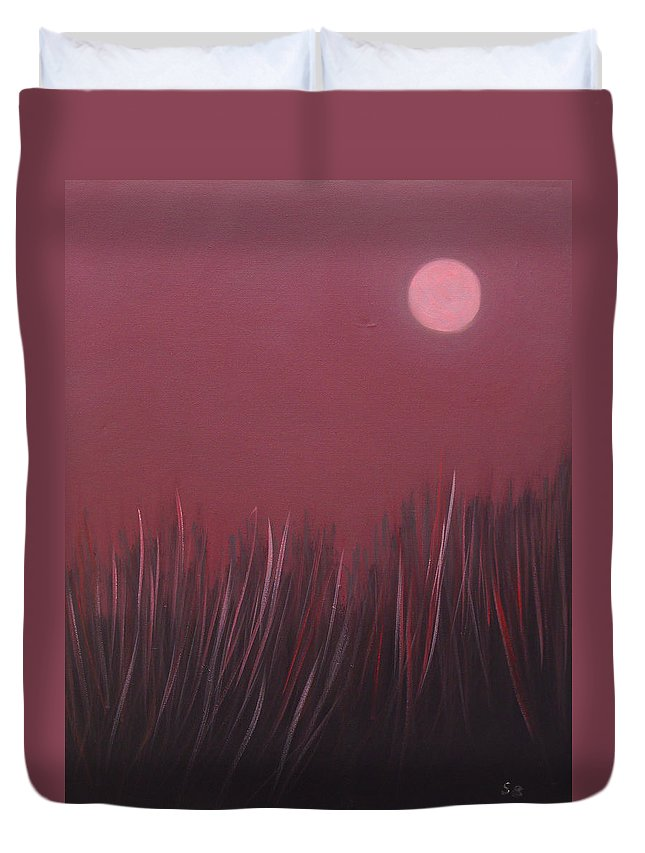 Landscape Duvet Cover featuring the painting The dusk by Sergey Bezhinets