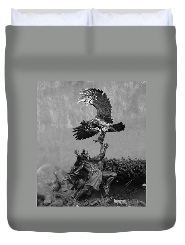 Eagle Duvet Cover featuring the photograph The Eagle And The Indian In Black And White by Rob Hans