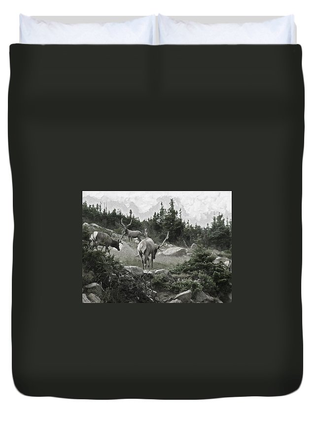The Elk Painterly 2 Duvet Cover featuring the digital art The Elk Painterly 2 by Ernie Echols