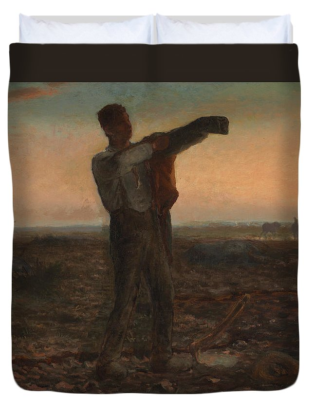 End Of The Day; Effect; Evening; Twilight; Dusk; Nightfall; Sunset; Atmospheric; Tired; Weary; Male; Work; Labour; Worker; Labourer; Agriculture; Agricultural; Field; Landscape; Rural; Countryside; Toil; Hard Work; Peasant; Realist; Exhausted; Exhaustion; Farm; Farmer; France; French; Coat; Jacket; Dressing; Cold; Putting On; Sleeve; Silhouette; Silhouetted Duvet Cover featuring the painting The End Of The Day Effect Of Evening by Jean-Francois Millet
