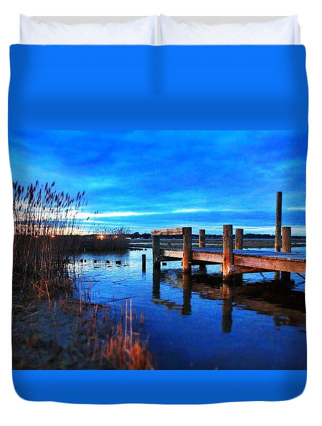Landscape Duvet Cover featuring the photograph The End Of The Pier by Nicole Jeffery