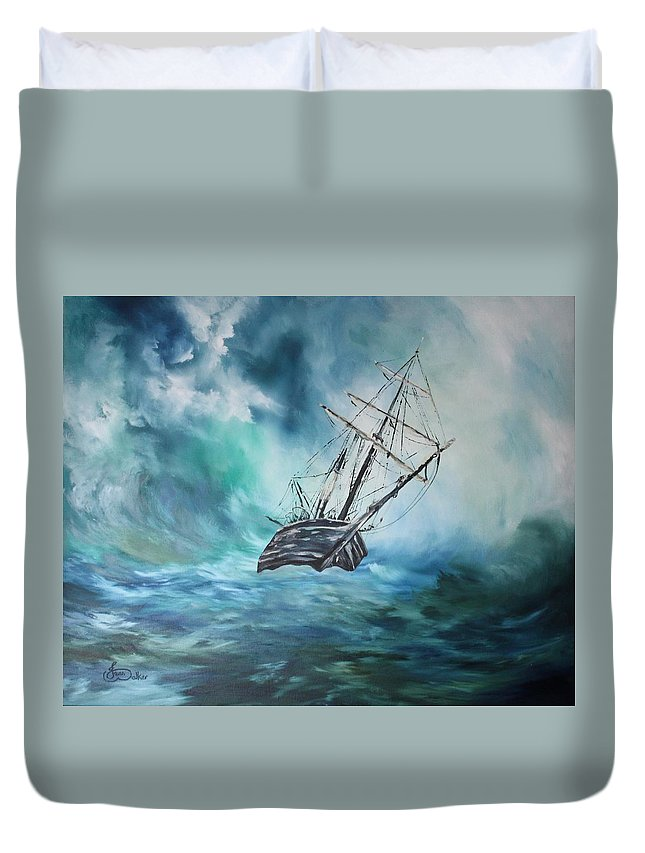 Endurance Duvet Cover featuring the painting The Endurance At Sea by Jean Walker
