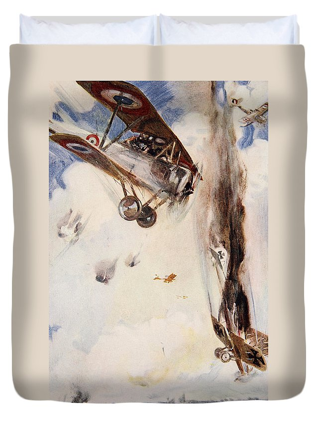 World War I Duvet Cover featuring the drawing The Enemy Crashed To The Earth by Cyrus Cuneo