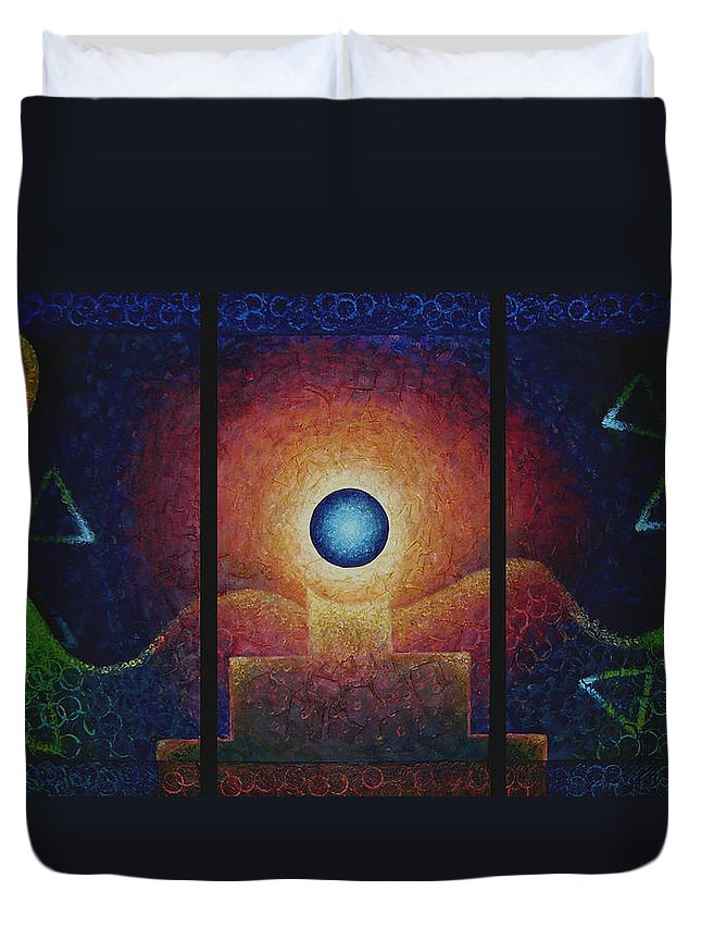 Native American Duvet Cover featuring the painting The Eternal Flame by Kevin Chasing Wolf Hutchins