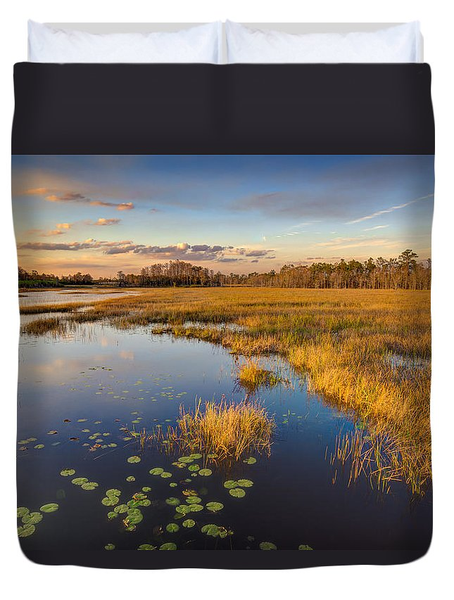 Clouds Duvet Cover featuring the photograph The Everglades by Debra and Dave Vanderlaan