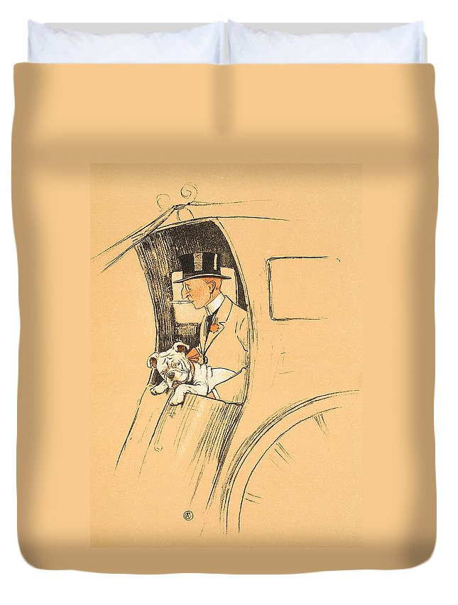 Aldin Duvet Cover featuring the painting The Extra Passenger by Cecil Charles Windsor Aldin