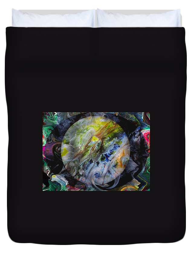 Surrealism Duvet Cover featuring the digital art The Eye Of Silence by Otto Rapp