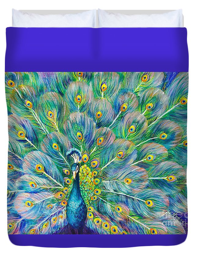 Peacock Duvet Cover featuring the painting The Eyes Have It by Nancy Cupp