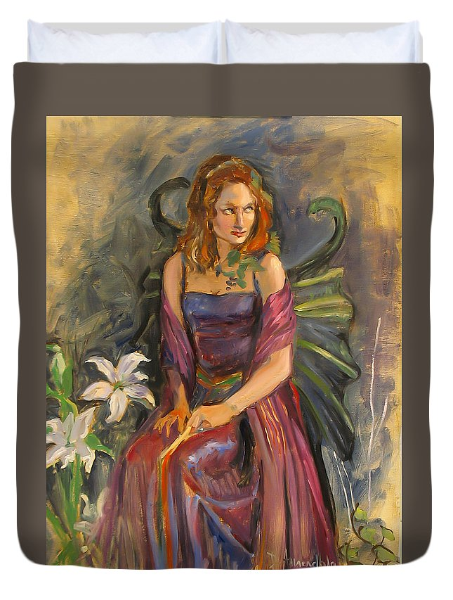 Painting Duvet Cover featuring the painting The Fairy by Dominique Amendola