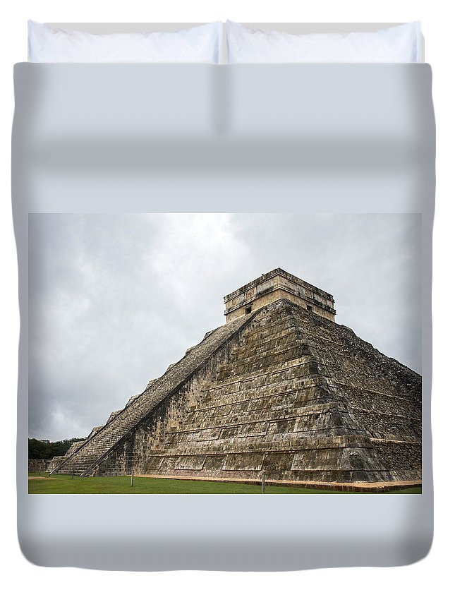 Chichen Itza Duvet Cover featuring the photograph The Famous Kulkulcan Pyramid At Chichen Itza by For Ninety One Days