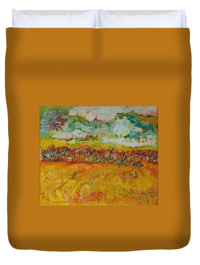Rural Duvet Cover featuring the photograph The Farmland Oil On Canvas by Brenda Brin Booker