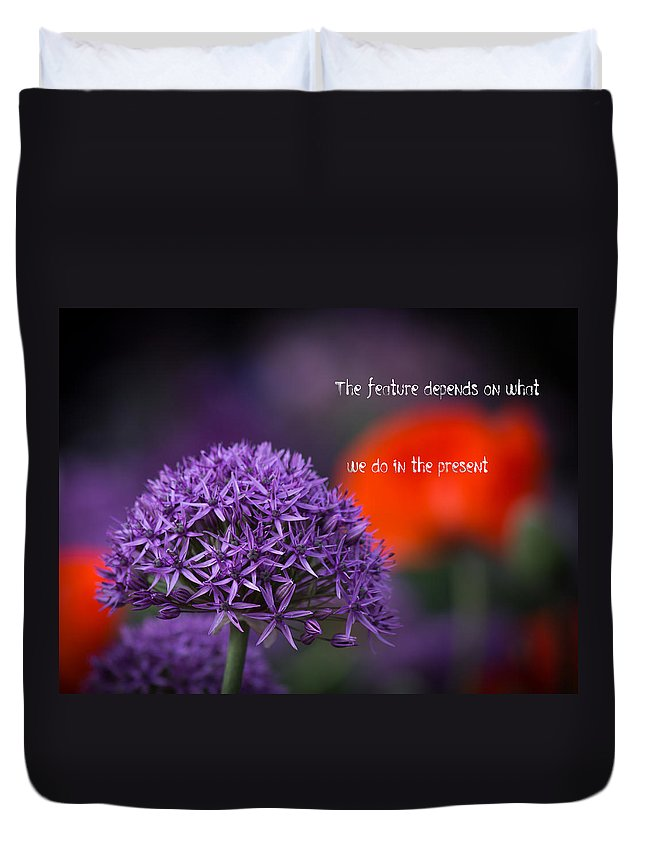 Motto Duvet Cover featuring the photograph The Feature by Alex Art and Photo