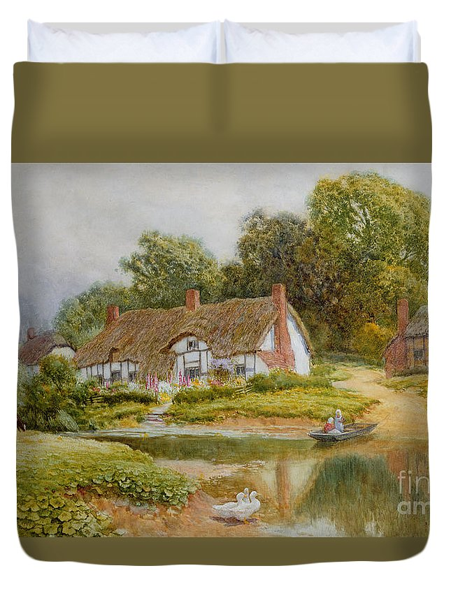 Boat; River; Crossing; Punt; Thatch; Countryside; Bank; Duck; Ducks; Rural; Rustic; Picturesque; Cottage Duvet Cover featuring the painting The Ferry by Arthur Claude Strachan