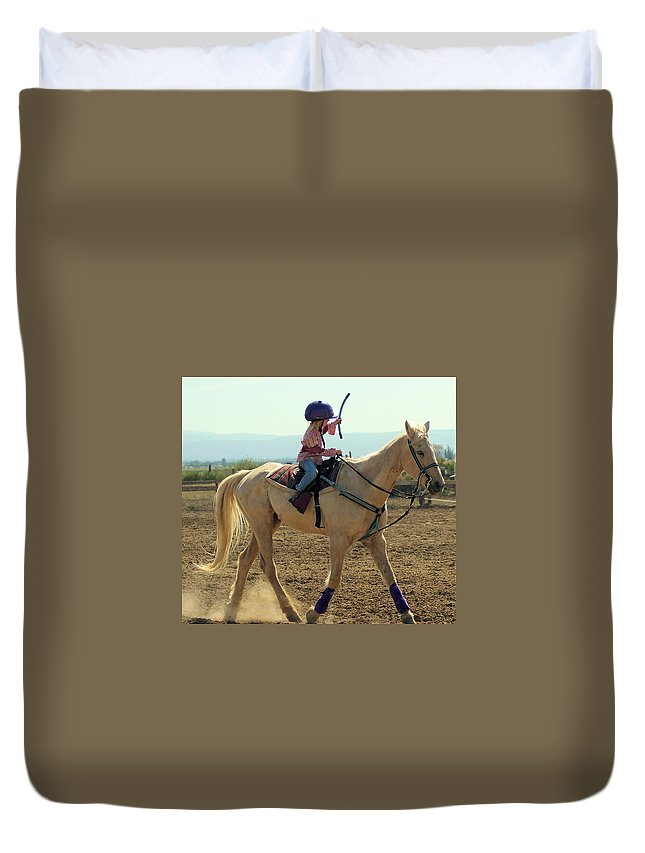 Horses Duvet Cover featuring the photograph The Final Stretch by Jeff Swan