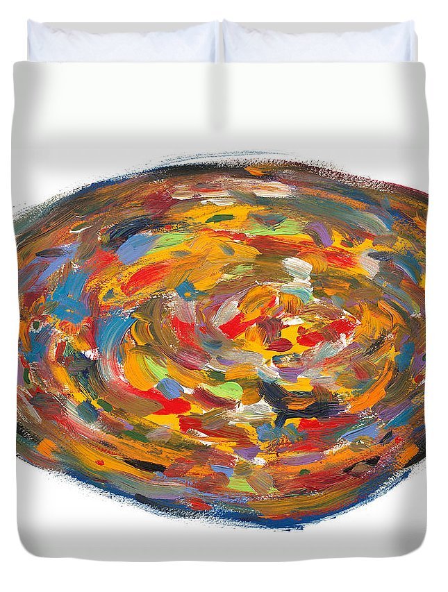 Pizza Duvet Cover featuring the painting The Fine Art Of Pizza Making by Bjorn Sjogren
