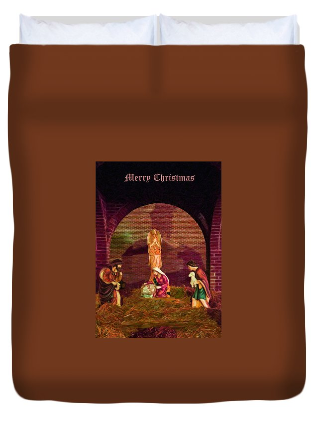 Greeting Cards Duvet Cover featuring the digital art The First Christmas - Greeting Card by Chris Flees