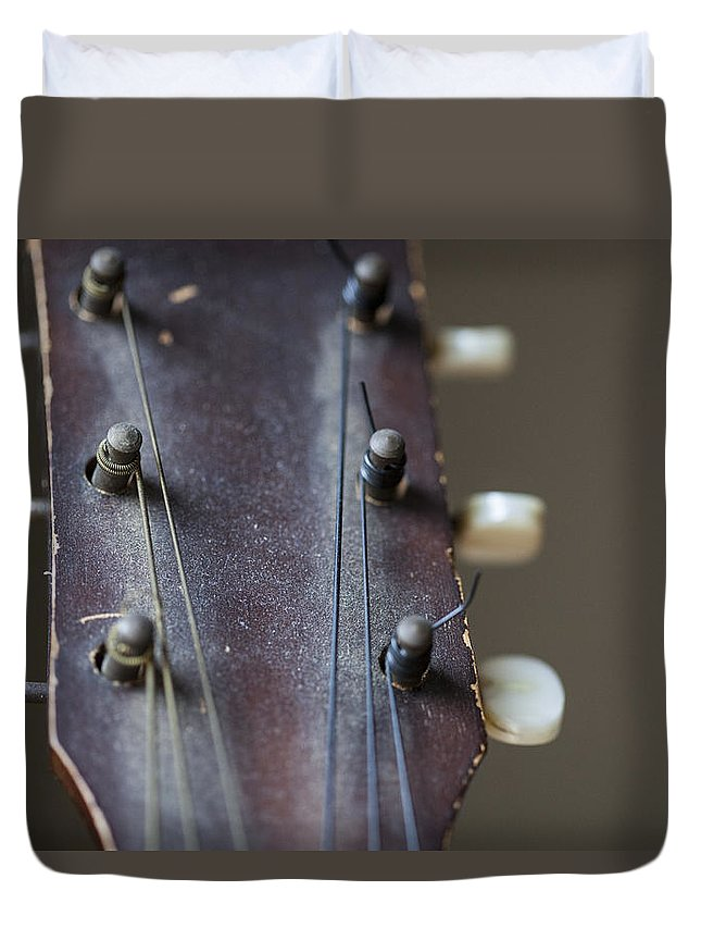 Guitar Duvet Cover featuring the photograph The First by Karol Livote