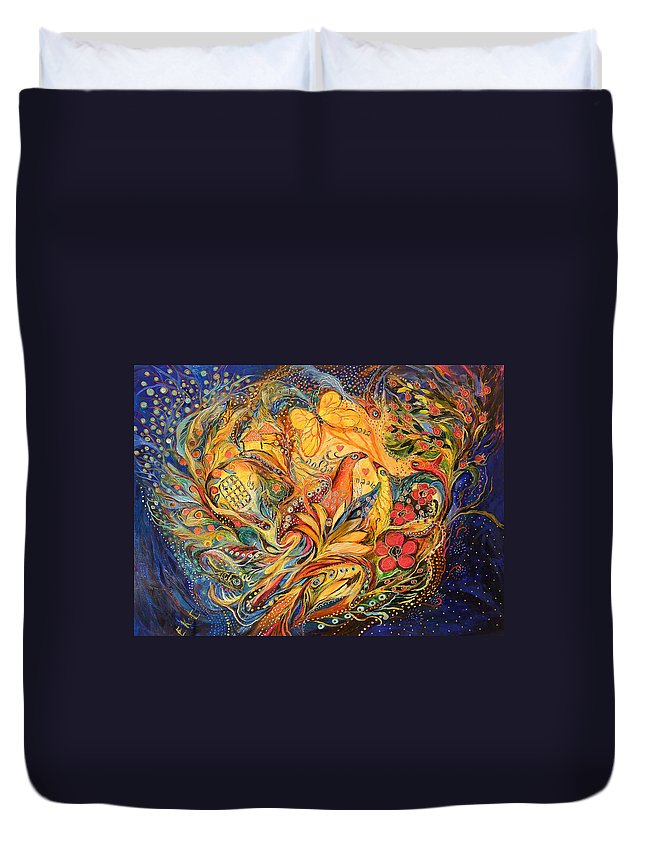 Original Duvet Cover featuring the painting The Fishermen Village by Elena Kotliarker