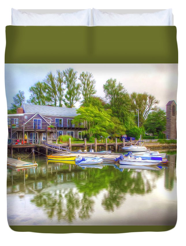 Bamboo Duvet Cover featuring the painting The Fishing Village by Jeelan Clark