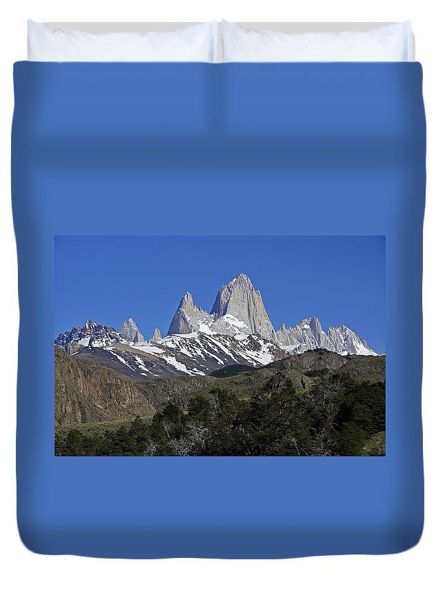 Argentina Duvet Cover featuring the photograph The Fitz Roy Range by Michele Burgess