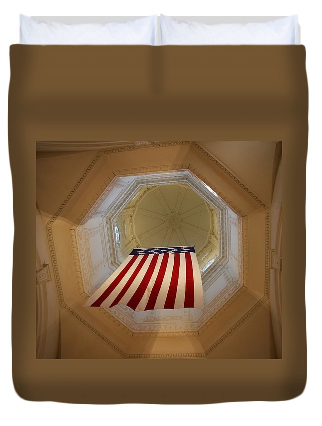 Flag Duvet Cover featuring the photograph The Flag - Maryland State House by Christiane Schulze Art And Photography