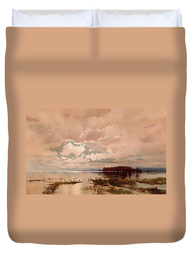 Painting Duvet Cover featuring the painting The Flood In The Darling 1890 by Mountain Dreams