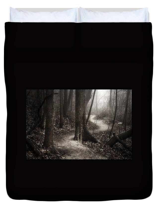Path Duvet Cover featuring the photograph The Foggy Path by Scott Norris