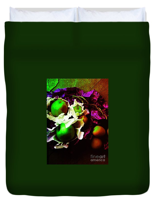Apples Image Duvet Cover featuring the digital art The Forbidden Fruit II by Yael VanGruber