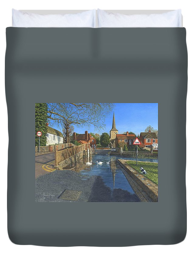 Eynsford Duvet Cover featuring the painting The Ford At Eynsford Kent by Richard Harpum