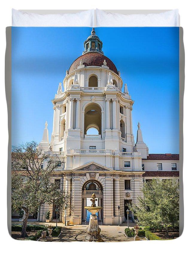 Pasadena City Hall Duvet Cover featuring the photograph The Fountain - The Beautiful Pasadena City Hall. by Jamie Pham