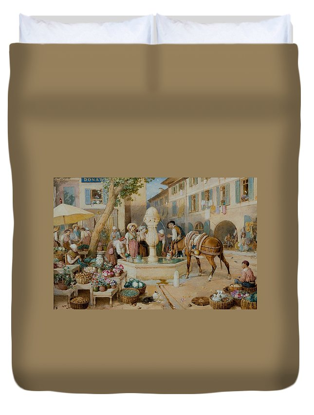 Myles Birket Foster 1825 - 1899 The Fountain At Toulon Duvet Cover featuring the painting The Fountain At Toulon by MotionAge Designs