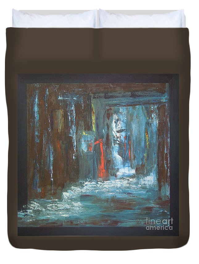 Abstract Duvet Cover featuring the painting The Free Passage by Mini Arora