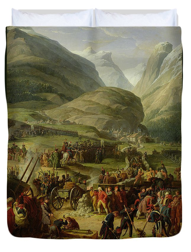 Mountain Duvet Cover featuring the photograph The French Army Travelling Over The St. Bernard Pass At Bourg St. Pierre, 20th May 1800, 1806 Oil by Charles Thevenin