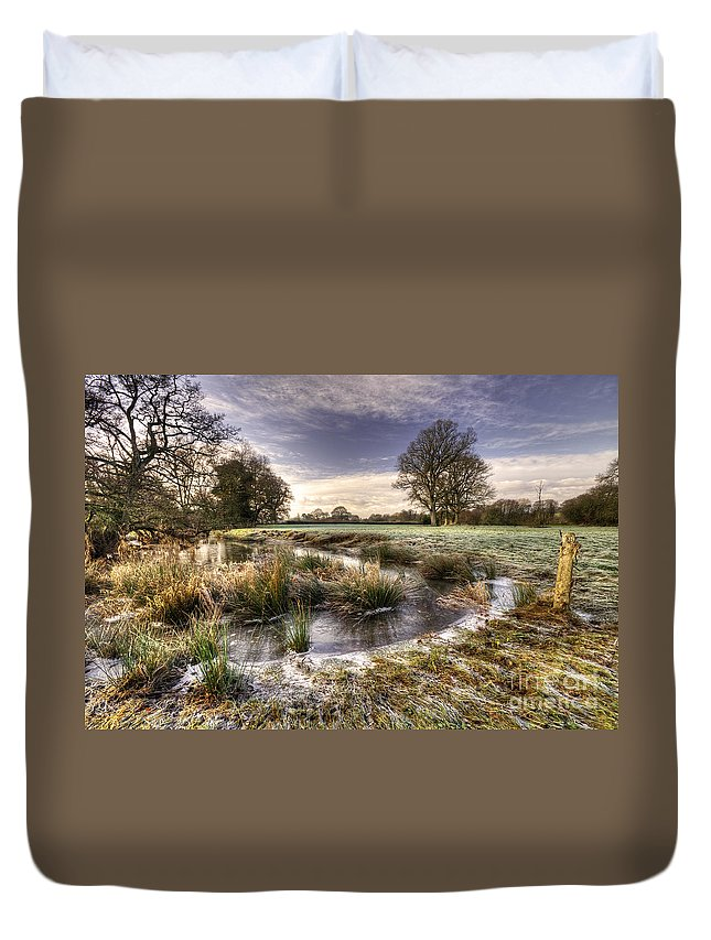 Frost Duvet Cover featuring the photograph the Frosty Field by Rob Hawkins