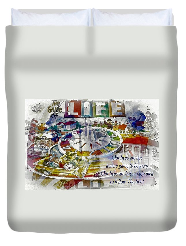 Jesus Duvet Cover featuring the digital art The Game Of Life by Michelle Greene Wheeler