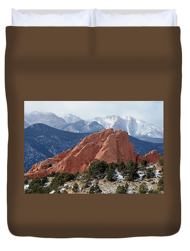 Scenics Duvet Cover featuring the photograph The Garden Of The Gods In Colorado by Rivernorthphotography