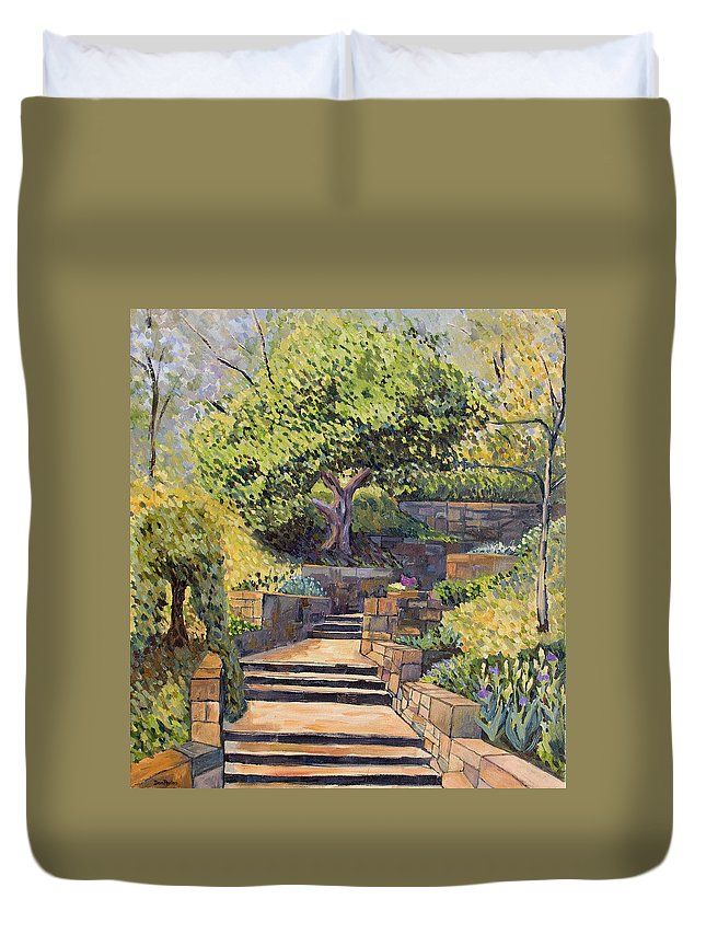 Impressionism Duvet Cover featuring the painting The Garden Stairs by Don Perino