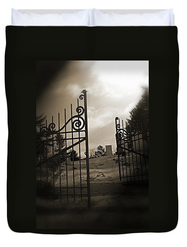 Gate Duvet Cover featuring the photograph The Gate by Jes Fritze