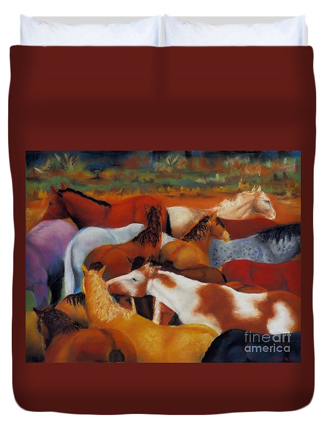 Herd Of Horses Duvet Cover featuring the painting The Gathering by Frances Marino