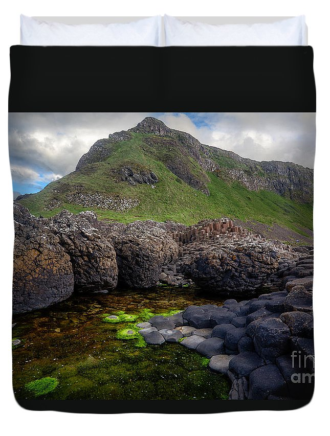 Europe Duvet Cover featuring the photograph The Giant's Causeway - Peak And Pool by Inge Johnsson