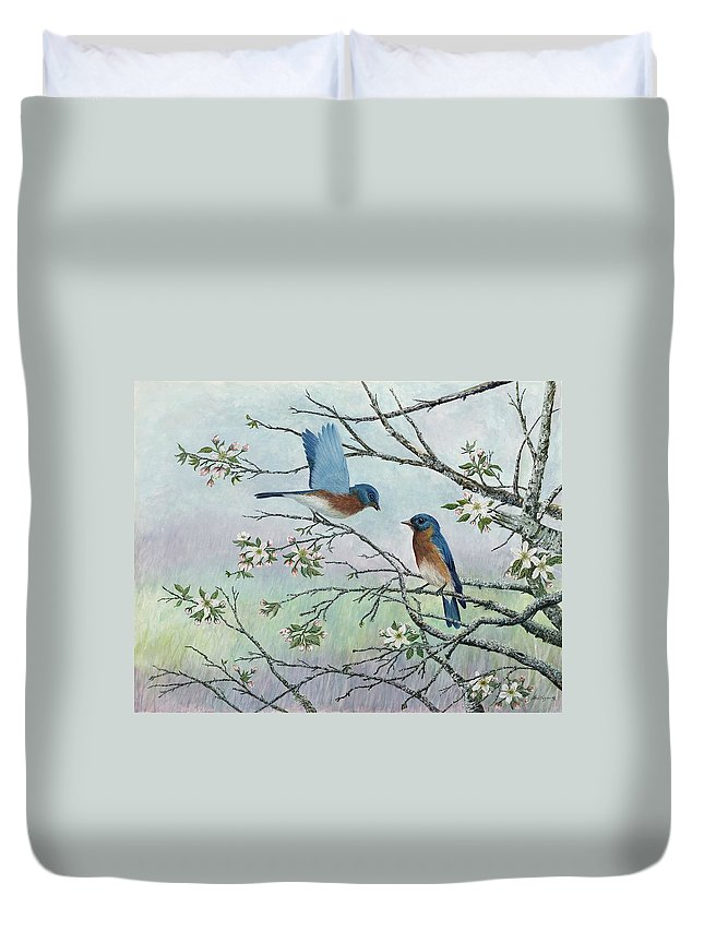 Bluebirds; Trees; Wildlife Duvet Cover featuring the painting The Gift by Ben Kiger
