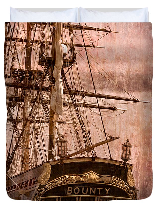 American Duvet Cover featuring the photograph The Gleaming Hull Of The Hms Bounty by Debra and Dave Vanderlaan