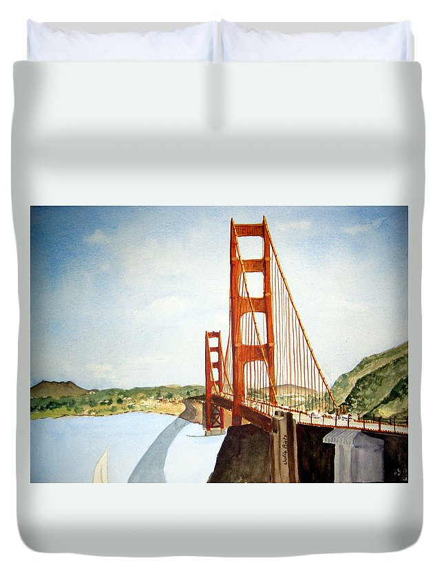 Golden Duvet Cover featuring the painting The Golden Gate Bridge by Julia RIETZ